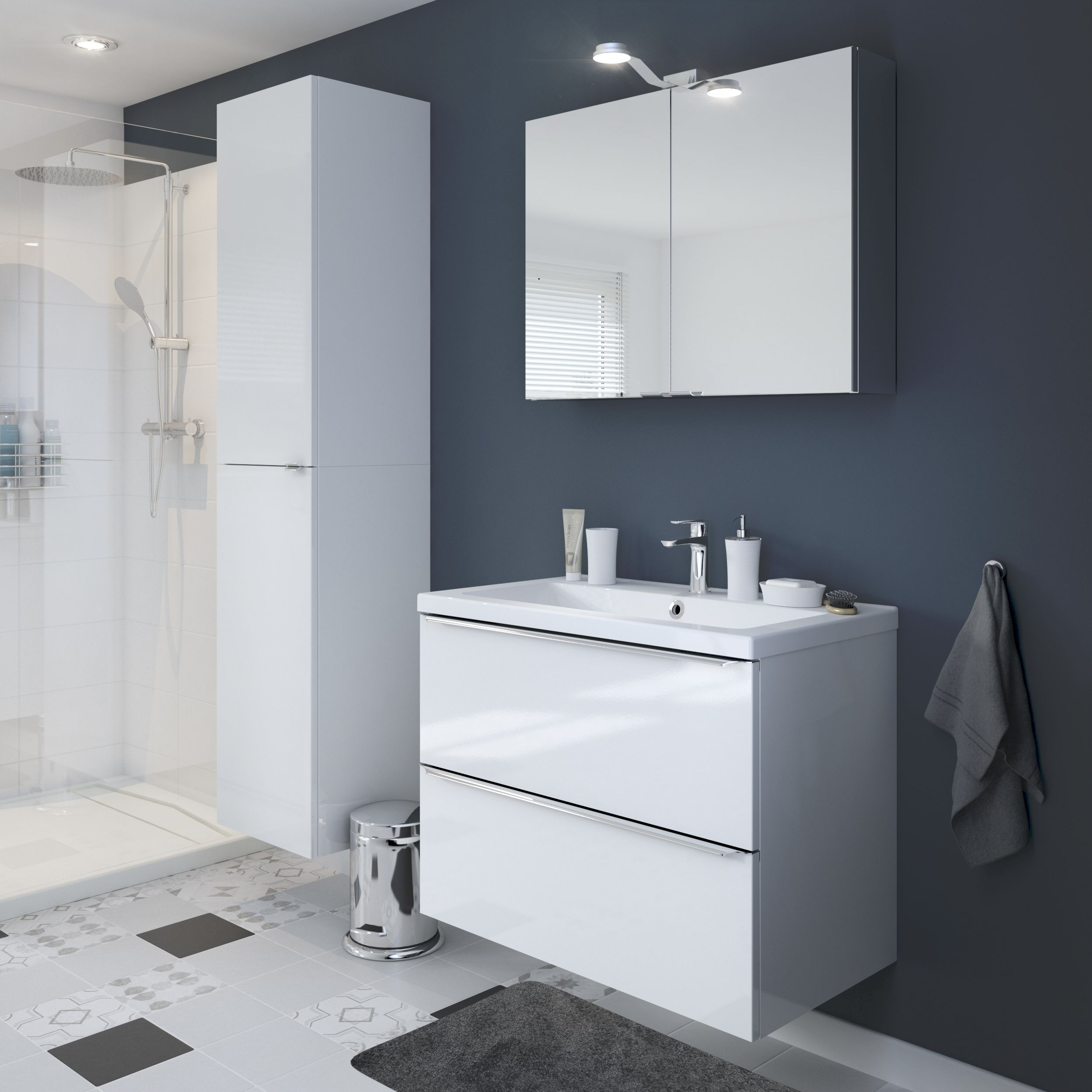 Exceptional Amazing Vetro White Gloss Fitted Bathroom Furniture Roper Rhodes
