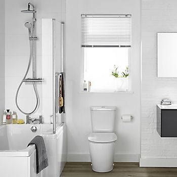White bathroom with mirror and gloss tiles