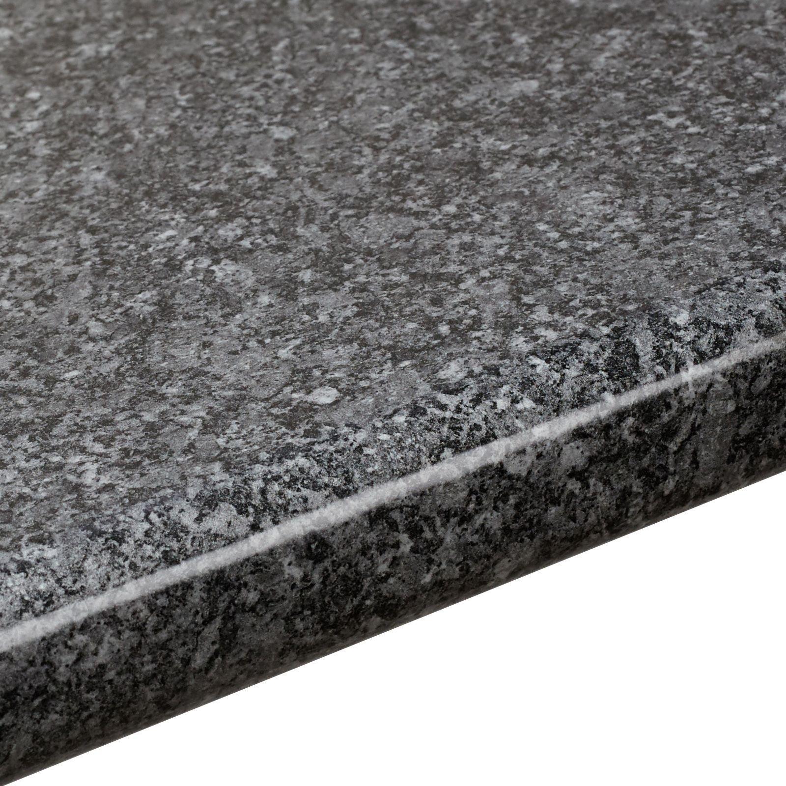 38mm B Amp Q Black Quartz Gloss Round Edge Kitchen Worktop L