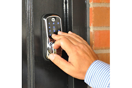 Yale smart lock in use