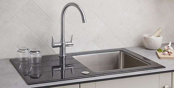 Monobloc tap installed in kitchen sink