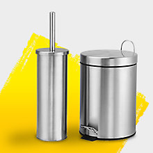 Carla Brushed Chrome Bathroom Bin & Toilet Brush Set