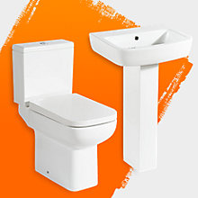 Fabienne close coupled toilet & full pedestal basin