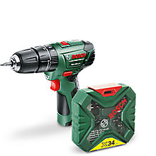 image for price cut on Bosch Cordless 10.8V 1.5Ah Li-Ion Hammer Drill 1 Battery plus free accessory kit deal
