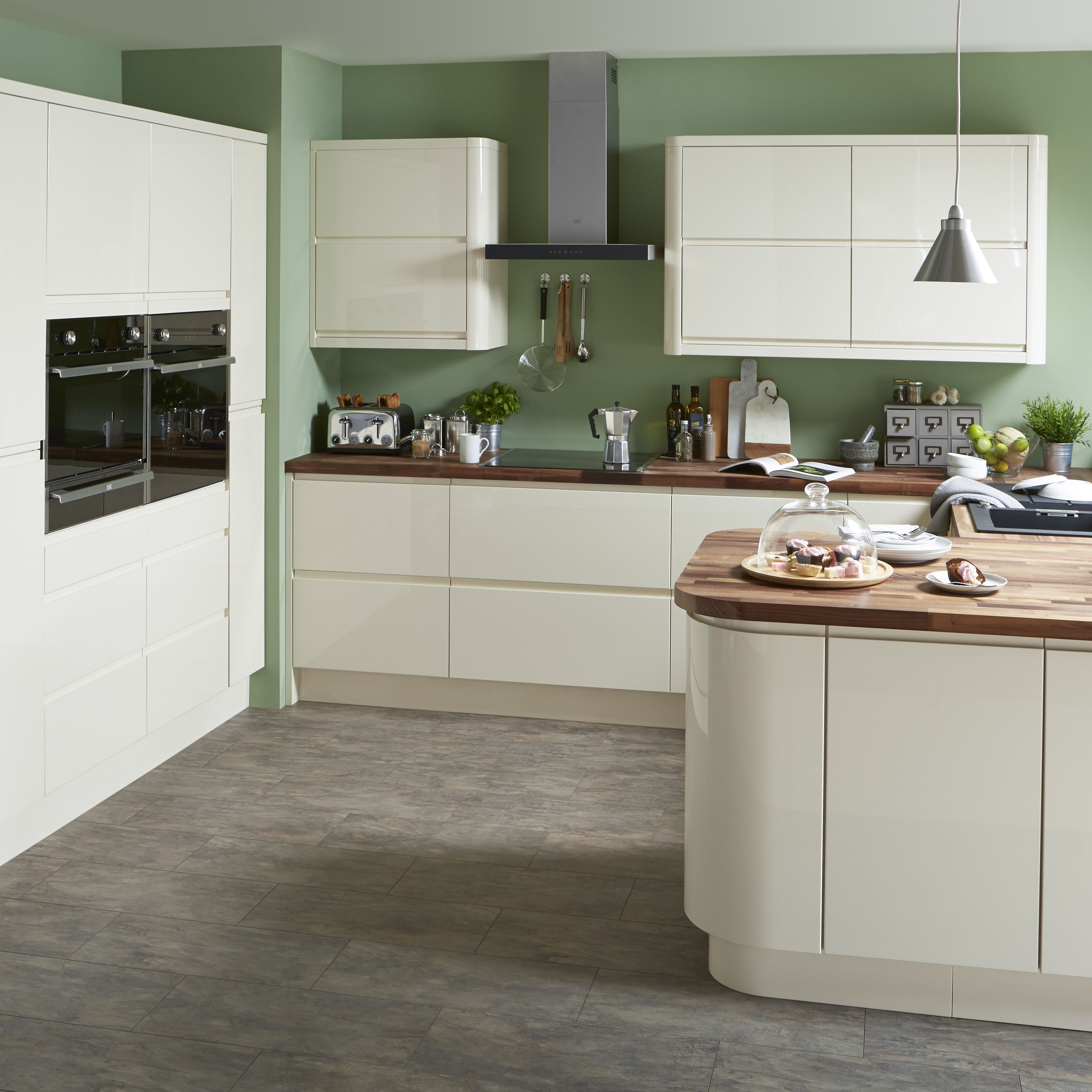 Expanded, Contemporary Kitchen Ideas. Cooke U0026 Lewis Appleby Gloss Cream  Kitchen