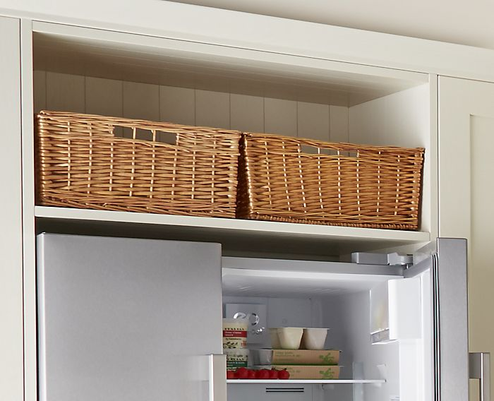 Storage baskets in kitchen
