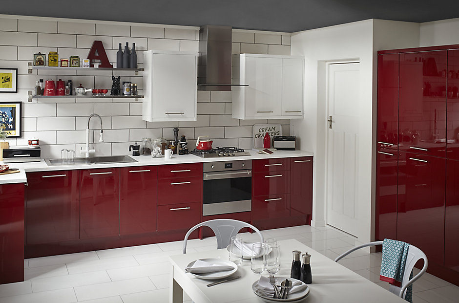 Cooke lewis raffello high gloss red slab diy at b q for Kitchen 0 finance b q