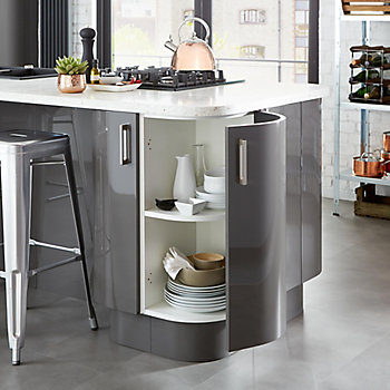 Cooke & Lewis Raffello gloss kitchen with an open cabinet filled with utensils
