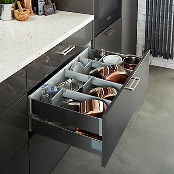 Cooke & Lewis Raffello gloss kitchen with storage solution