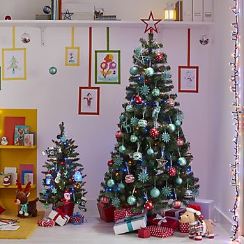 Woodland Pine Artificial Christmas Tree decorated with Merry & Bright decorations