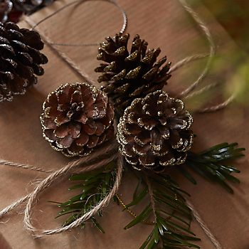 Glitter sprayed pine cones on table