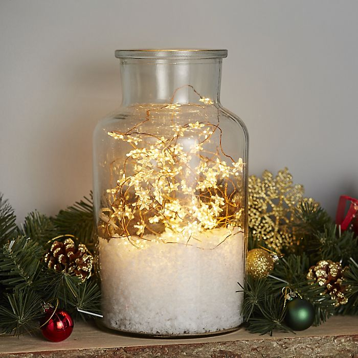 Warm white LED copper wire star Christmas lights