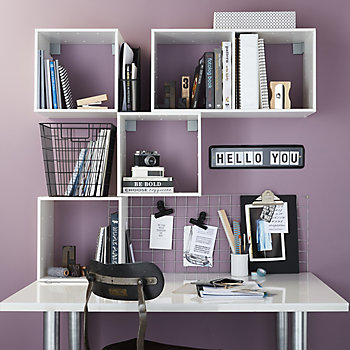 Office with lots of storage solutions