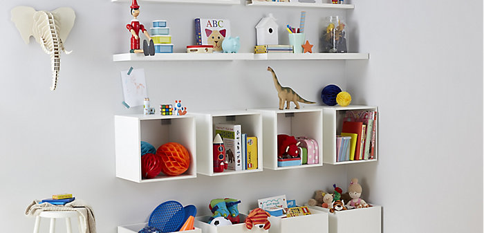 Toys stored in wall-mounted Konnect storage cubes and floating wall mounted shelving