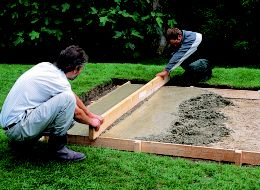 step 6 of laying a concrete shed base