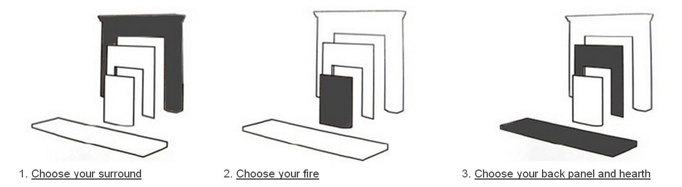 Choose your surround, fire, back panel and hearth