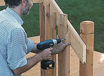 fitting a handrail to decking steps