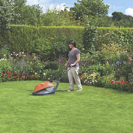 lady with lawnmower