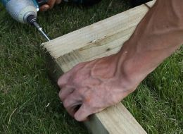 Step 3 in laying a timber shed base