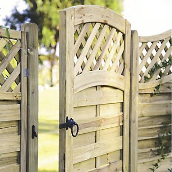 wooden garden gate with trellis