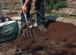 Adding compost to soil