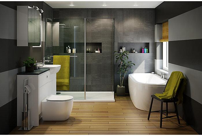 Helena bathroom suites bathroom departments diy at b q for B q bathroom cabinets