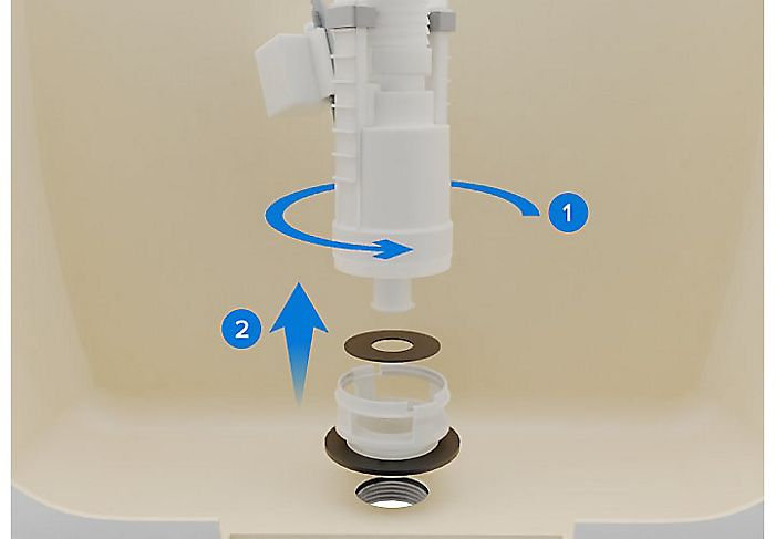 Remove the flushing mechanism from the cistern by turning it 1/4 turn anti-clockwise.