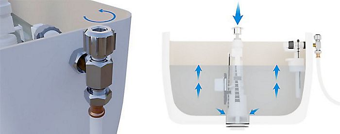 Adjust the water level to determine the quantity of water released in each flush