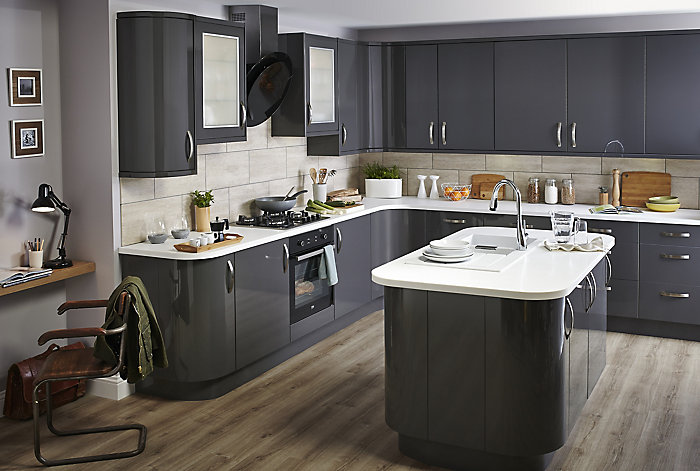 Cooke  amp Lewis Raffello high gloss anthracite slab kitchen Contemporary design ideas Help Ideas DIY at B Q