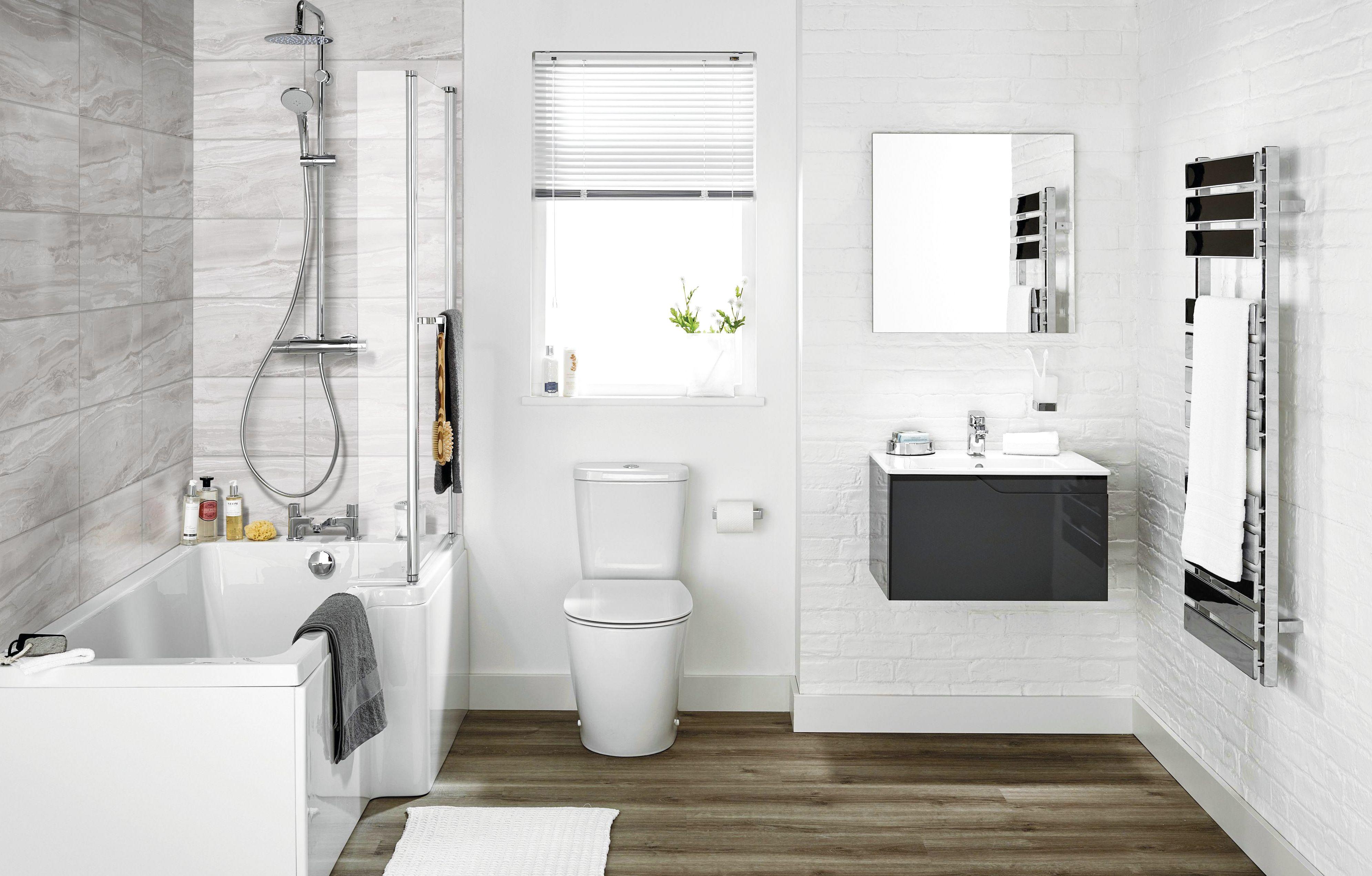 Imagine modern bathroom suites diy at b q for Small on suite bathroom ideas