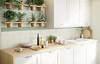 hanging herb display in kitchen