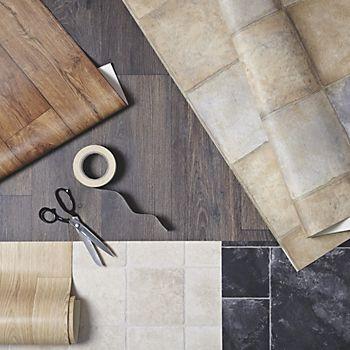 vinyl flooring selection including adhesive tape
