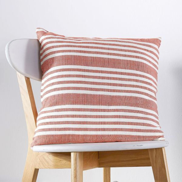 Woven Stripe Red & Natural Cushion