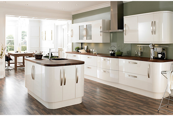 Cooke lewis high gloss cream kitchen ranges kitchen for Cream kitchen paint ideas