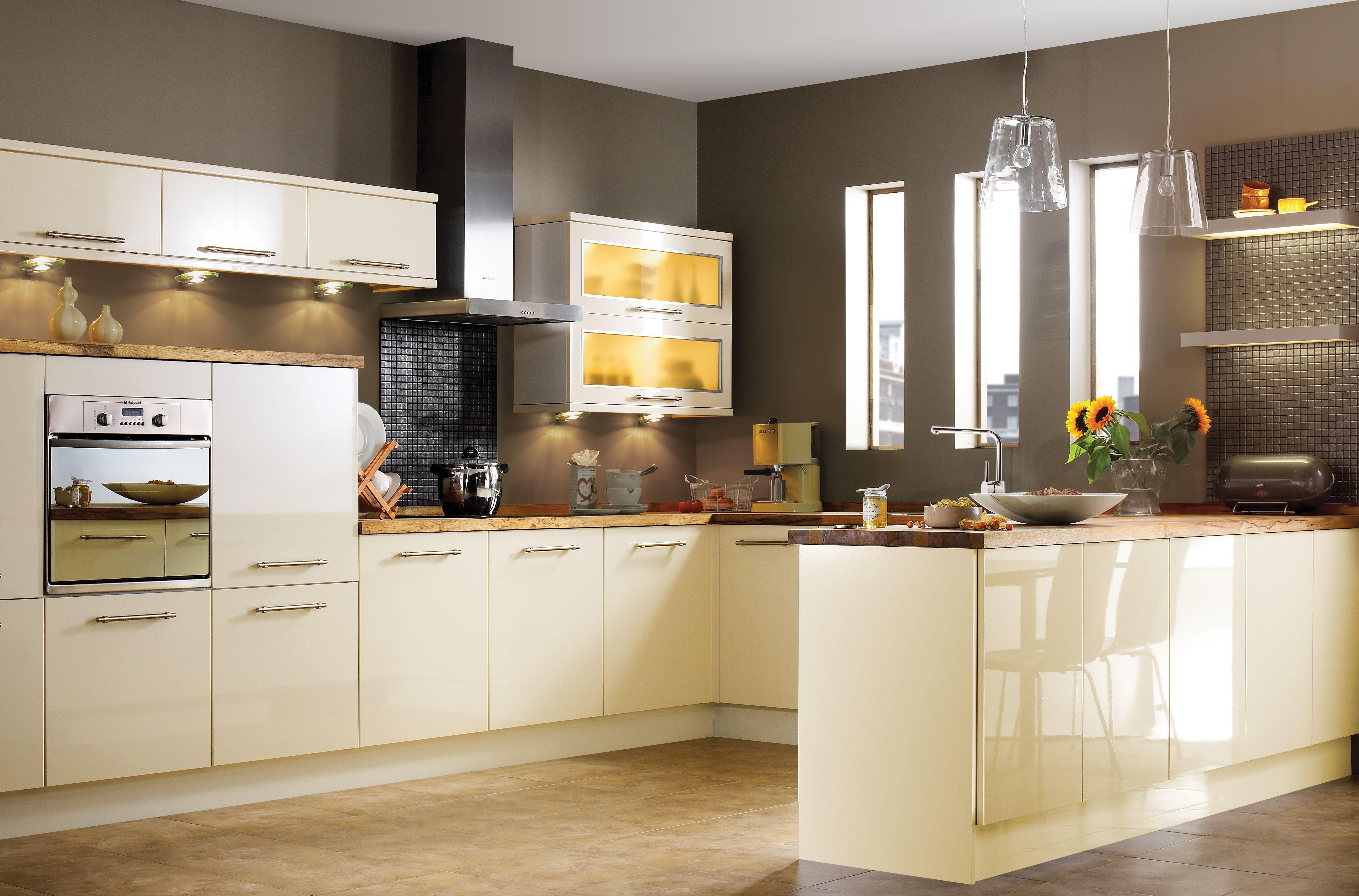 it gloss cream slab kitchen ranges kitchen rooms cream and cocoa kitchen kitchen design decorating