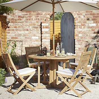 Roscana wooden four seater dining set and Capri ecru parasol