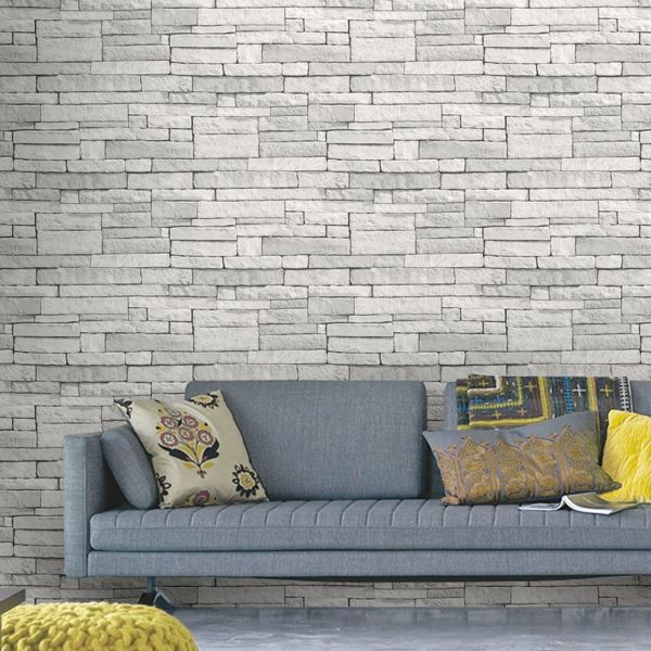 wallpaper for living room wall. Brick  Tile amp Stone Wallpaper Decorating DIY at B Q