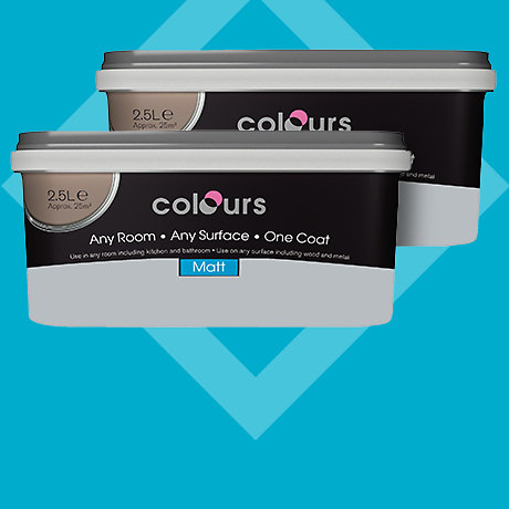 Colours Any Room Any Surface One Coat 2.5L Emulsion - 2 for £28
