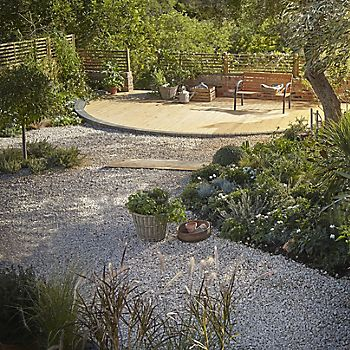 Large garden with trees and shrubs