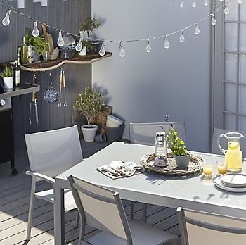 Verena metal garden furniture and garden party lighting