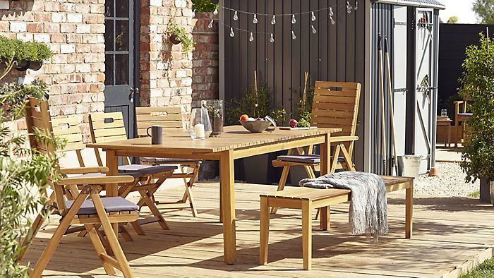 Shop garden furniture    Denia wooden six seater dining set with backless  bench. Garden furniture buying guide   Help   Ideas   DIY at B Q