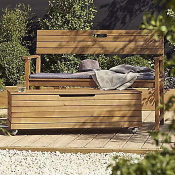 Denia wooden garden bench with storage box