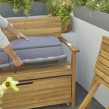 Denia plain grey foldable storage bench cushion