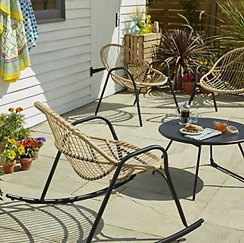 Cuba metal and rattan coffee set