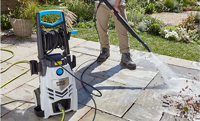 """Mac Allister pressure washer cleaning a patio"""