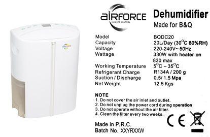 B&Q Airforce 20 Litres Dehumidifier image