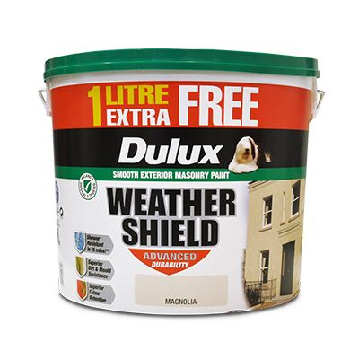 Dulux Weathershield 11 litre White or Magnolia 2 for €80 €48 each €4.36 per litre