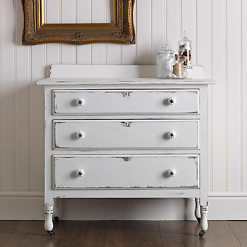 upcycled chest of drawers in white rustoleum furniture paint