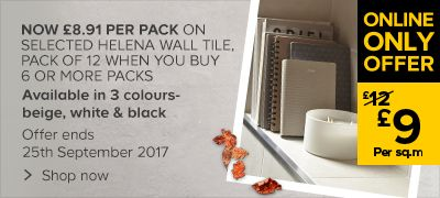 Now:£8.91 per pack, Now £9 per sqm on Helena Wall tile