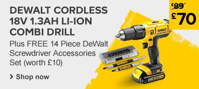 Winning weekend DeWalt Cordless 18V 1.3Ah Li-Ion Combi Drill 1 Battery was £89 now £70 with free accessory set